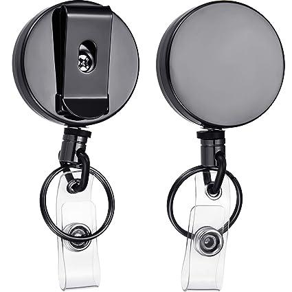 Llavero retráctil, 2 unidades, metal con nombre completo, con clip para el carrete con clip para el cinturón y cable de alambre de acero, color negro