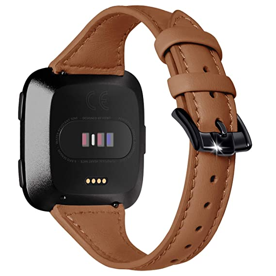 Surace Compatible for Fitbit Versa Bands for Women Leather Band Replacement for Fitbit Versa Lite Bands Accessories Smartwatch,Brown