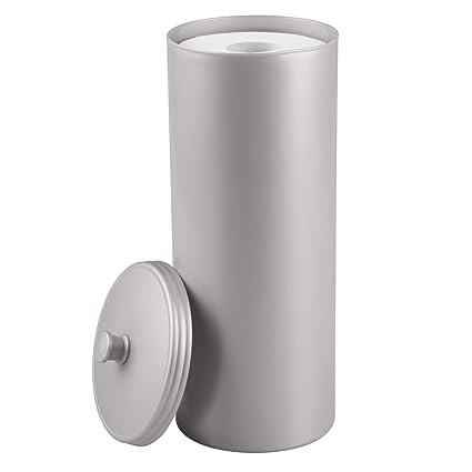 mDesign Dispensador de papel higiénico sin taladro – Decorativo portarrollos de pie – Discreto almacenaje de