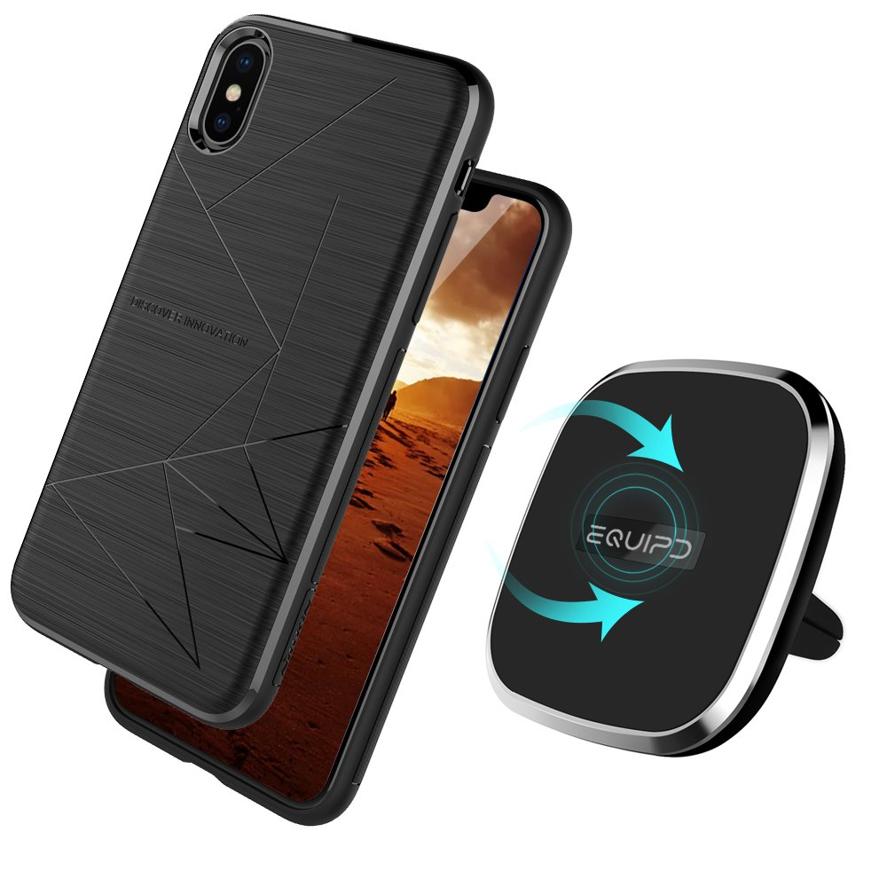 Qi Wireless Charger With Apple iPhone X Magic Case Included-Vent Mounted 2-in-1 Magnetic Charging Pad For iPhone X, 360 Degree Rotation, Strong Magnetic Holder for Vehicle Wireless Charger