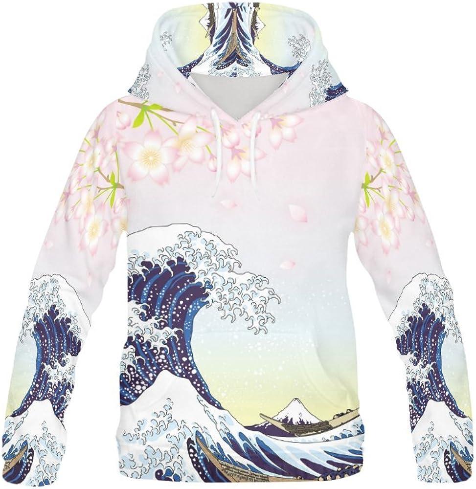 INTERESTPRINT Womens Casual Sweatshirt Cherry Blossom Unicorn Crew Neck Long Sleeve Pullover Tops XS-XL