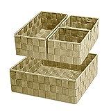 Woven Storage Box Cube Basket Bin Container Tote Organizer Divider for Drawer,Closet,Shelf, Dresser,set of 4 (Beige)