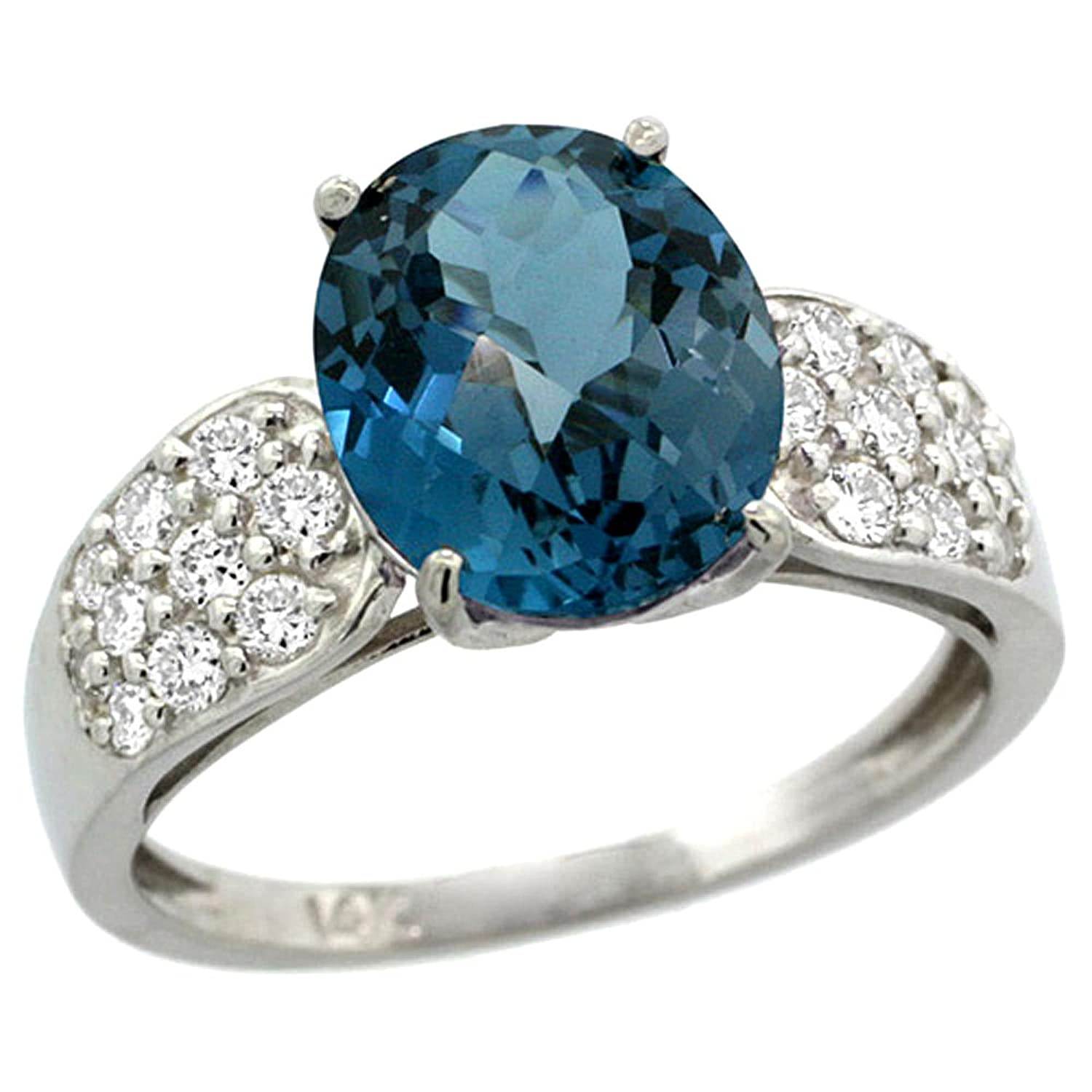 Amazon 14k White Gold Natural London Blue Topaz Ring Oval