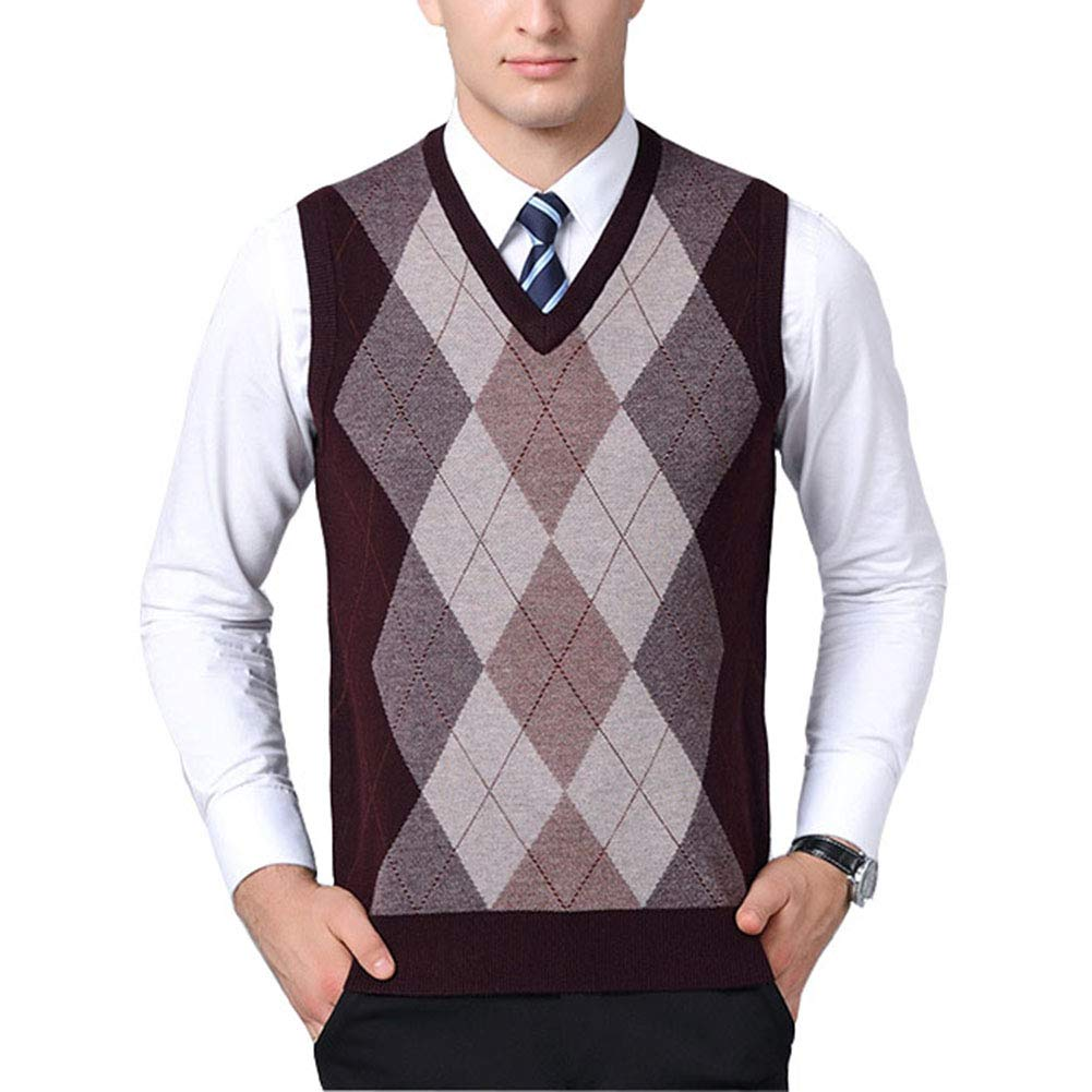 Mixsense Mens Winter Warm Wool Argyle V-Neck Sleeveless Knitwear Sweater Vest