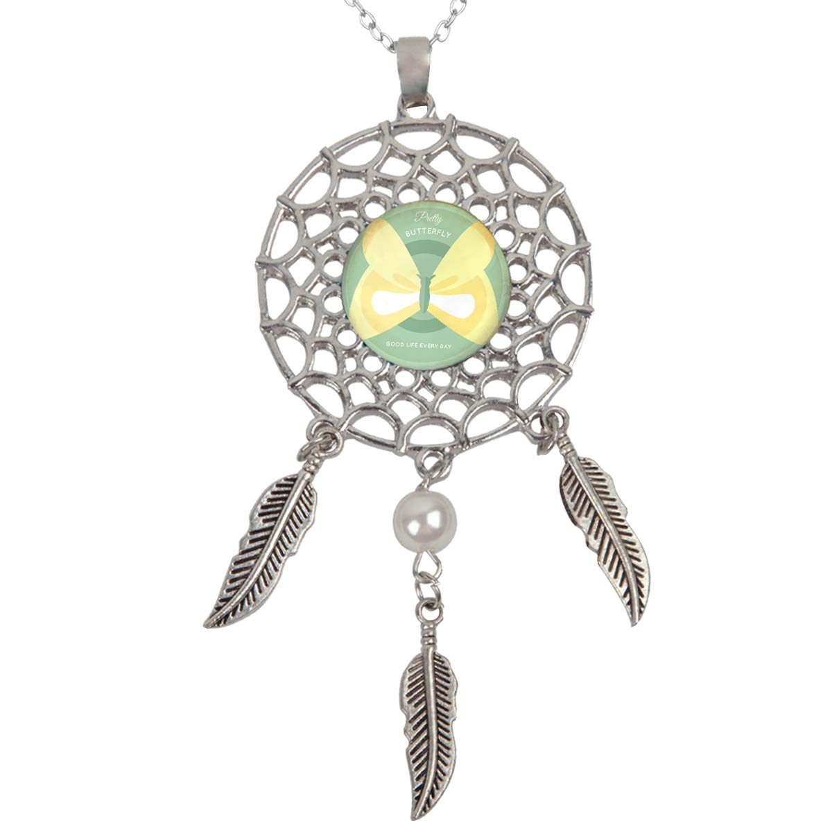 Queen Area Dream Catcher Necklace Yellow Butterfly Pendant Dangling Feather Tassel Bead Charm Chain Jewelry for Women