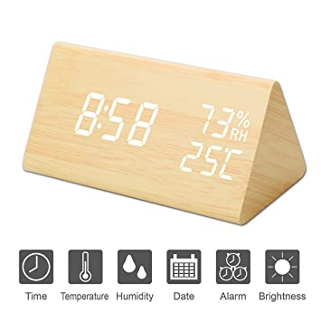 Kingterence Reloj Despertador Digital, Triángulo de Madera LED Cubo: Amazon.es: Hogar