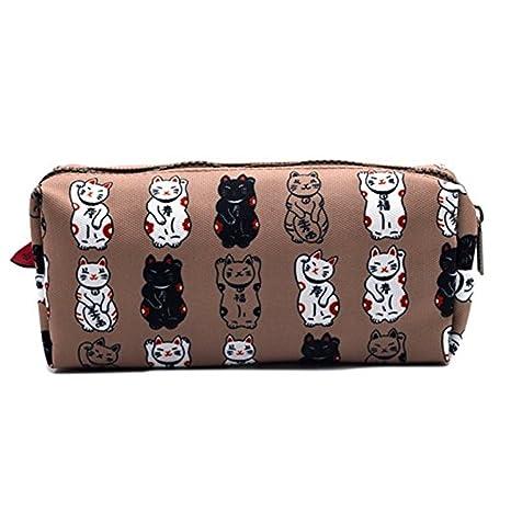 Lucky japonés Gato estuche Maneki Neko Cat lápiz bolsa bolsa caso maquillaje bolsa de cosméticos