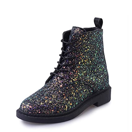 b632e995dc412 Yaloee Ankle Boots for Women Heels Female Shoes Autumn Glitter Lace up  Casual Booties