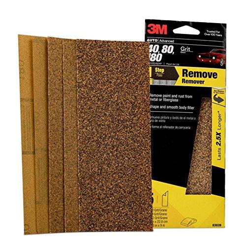 3M 03039 3-2/3'' x 9'' Aluminum Oxide Automotive Sandpaper (Pack of 40)
