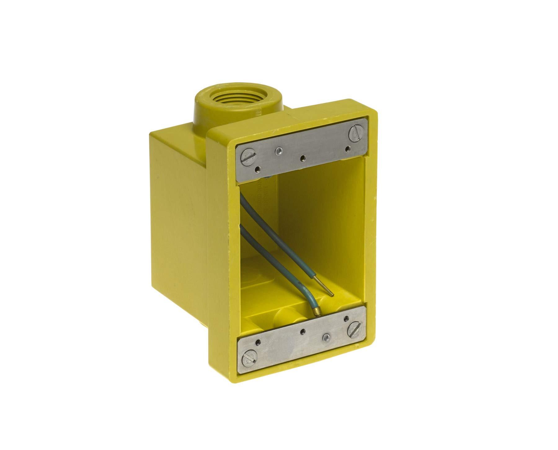 Woodhead 454CR Watertite FD Box, 2 Knockout Openings, Yellow, 1'' Thread Diameter