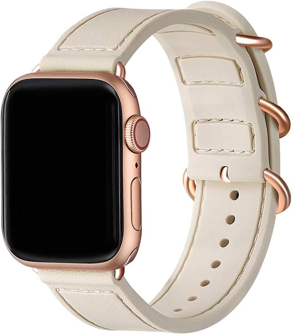 BesBand Compatible with Apple Watch Bands 44mm 42mm 40mm 38mm for Women Men,Soft Silicone Sport Strap Replacement Band for Apple Watch SE & iWatch Series 6/5/4/3/2/1 (Ivory White/Rose Gold, 38mm 40mm)