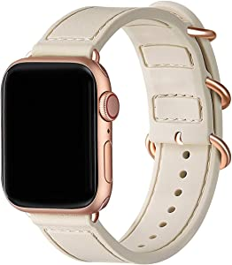 BesBand Compatible with Apple Watch Bands 44mm 42mm 40mm 38mm for Women Men,Soft Silicone Sport Strap Replacement Band for Apple Watch SE & iWatch Series 6/5/4/3/2/1 (Ivory White/Rose Gold, 42mm 44mm)