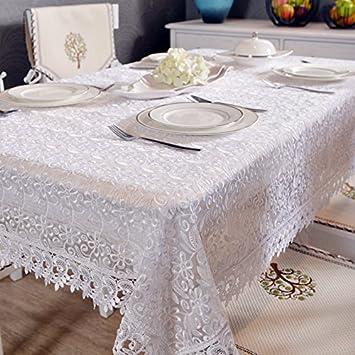 TIANLU Telas de lino blanco y elegante cubierta rectangular cubierta de tela de toalla La Puntilla Puntilla idílico Mantel, blanco para el aire ...