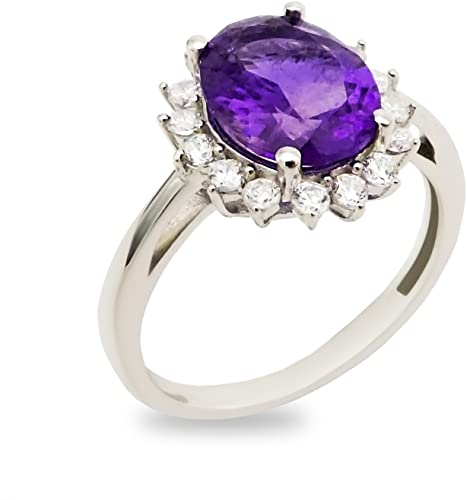 Halo Amethyst /& Heart Cubic Zirconia .925 Sterling Silver Ring Sizes 5-9
