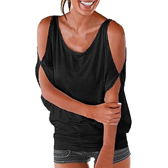 Camisetas De Hombro Halter Sexy Mujer LHWY, Camisetas Manga Corta Color Sólida Casuales Blusa Suelto