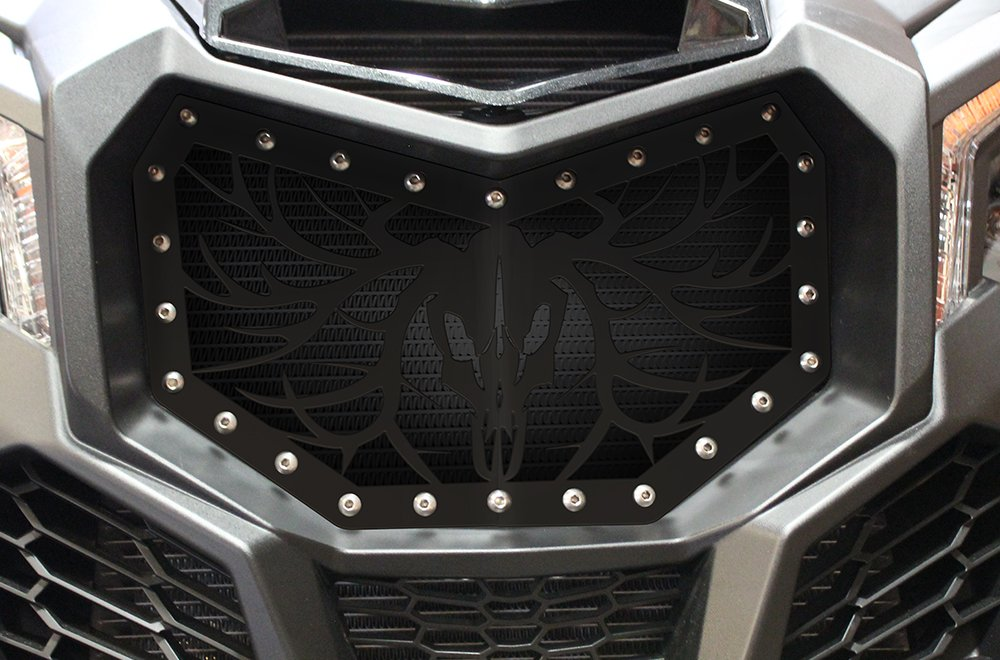 Full Replacement Steel Grille for CanAm Maverick X3 MADE IN USA - Single Piece Powder Coated Satin Black UTV Grill - BUCK