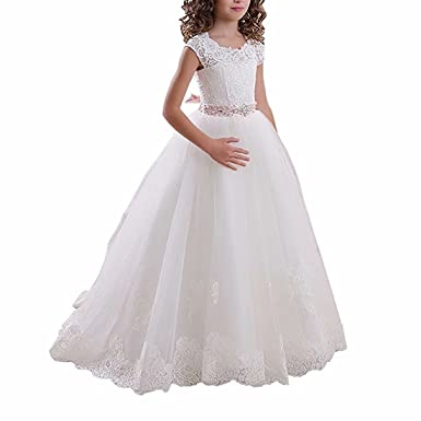 bd3f6d93754 Amazon.com  Niya Girl Dress Pageant Dresses for Girls 7-16 Bodice Lace  First Communion Dress Lace up Ball Gown Party Dress  Clothing
