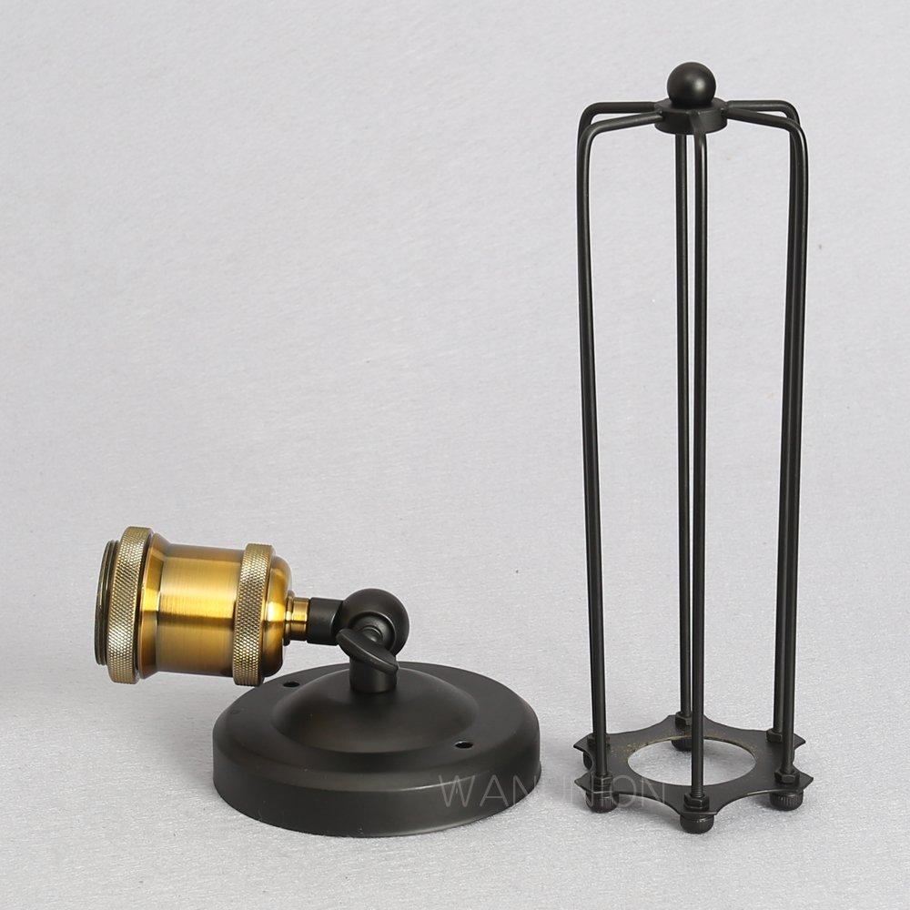 2PC Vintage Applique Cage Metal Applique Luminaire Antique Industriel Suspensions Luminaire Corridor Applique Metal Cage R/églable Applique Luminaire Edison Culot E27