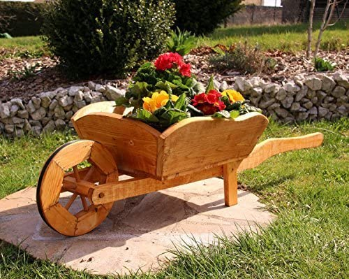 holzdekoladen Plantación de Carretilla Cesta de flores Carretilla De Madera tratados - medio: Amazon.es: Jardín