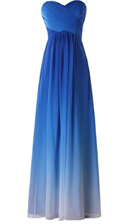 charmingbridal Gradient Color Long Bridesmaid Dress Formal Party Prom Dress