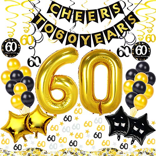 Birthday Anniversary 60th (60th Birthday Decorations Kit 54 Pieces – CHEERS TO 60 YEARS Banner, 40-Inch Gold 60 balloons, 60th Anniversary Swirl Decorations, 60 Confetti for Table Decorations, BIRTHDAY PLAN CHECKLIST)