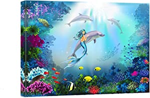 """Bathroom Canvas Wall Art- Modern Mermaid with Dolphins Wall Decor Picture Paintings -Ocean Theme Pictures Framed for Bathroom Office Home Decor-12""""x16"""""""
