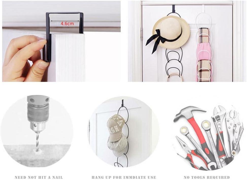 1-hook 5-ring mehrschichtige T/ür nail-free Iron Coat Hat Haken Bag Schal Kleiderschrank Aufbewahrung Rack schwarz