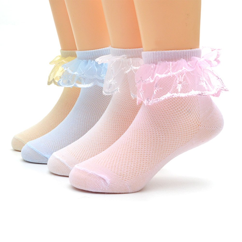 LUOEM 4 Pairs Baby/Girl Ankle Socks Lace Ruffle Frilly Ankle Cut Socks for 0-3 year-old