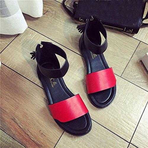 Elevin (tm) Kvinnor Sommarens Mode Utomhus Peeptoe Tofsar Flat Plattform Sandaler Fotled Skor Röd