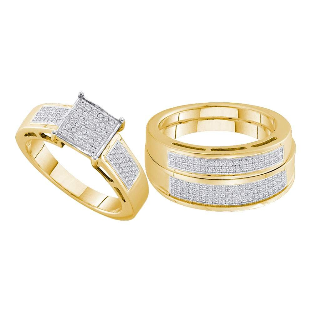 Yellow-tone Sterling Silver His & Hers Round Diamond Cluster Matching Bridal Wedding Ring Band Set 5/8 Cttw