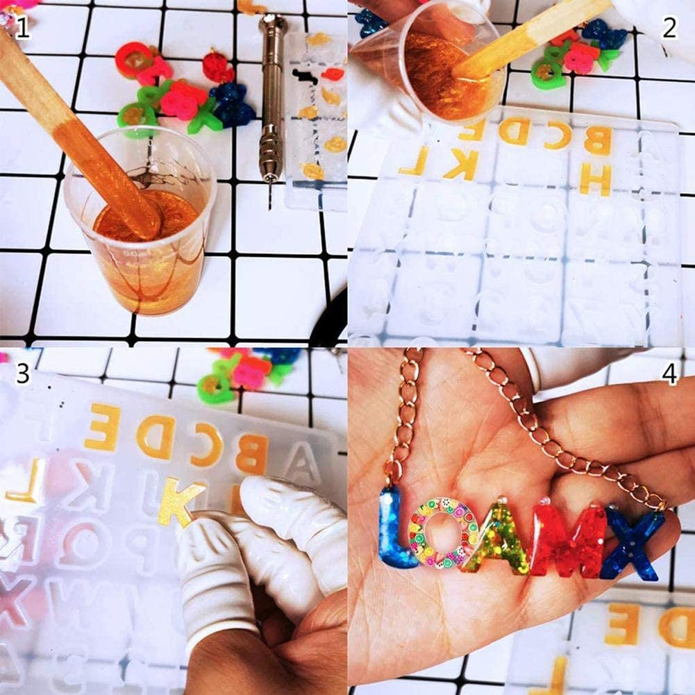 llaveros,para llavero,n/úmero de casa Molde de silicona de 106 piezas con n/úmero de letra moldes de letras de fundici/ón de resina molde de resina de fundici/ón de bricolaje con lentejuelas brillantes