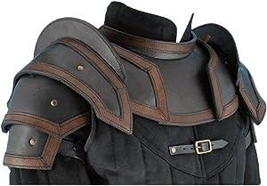 NauticalMart Armor Leather Shoulder Armor Pauldrons with Neck Guard Gorget (Black, Large)