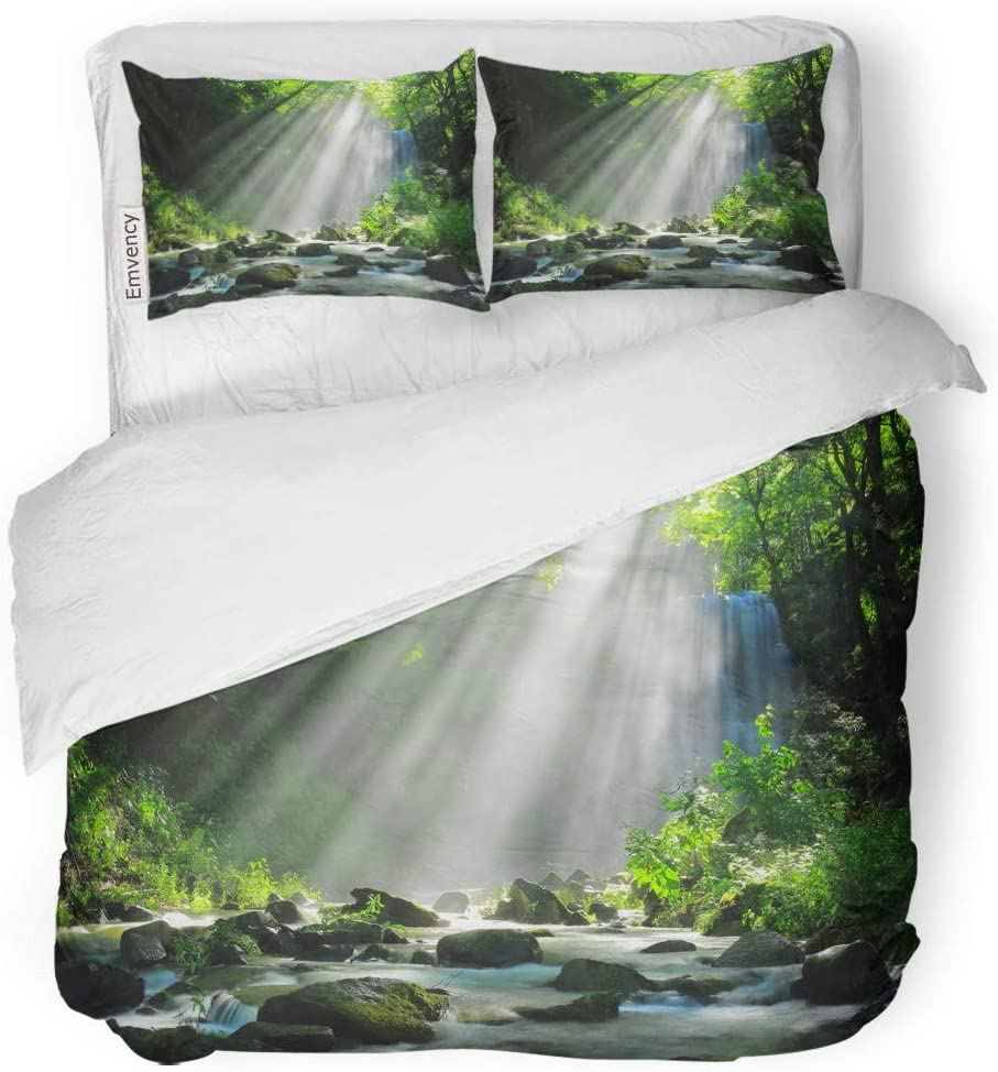 "Tarolo Bedding Duvet Cover Set Green Landscape Akita Prefecture Kameda Fudo Waterfall Japan Mountain Asahi 3 Piece Twin 68""x90\"" Quilt Cover with Zipper Closure 61oxB5joUJL"