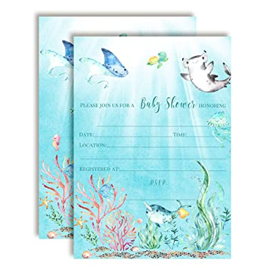 "Underwater Cute Sea Life-Themed Baby Sprinkle Shower Invitations, 20 5""x7"" Fill in Cards with Twenty White Envelopes by AmandaCreation: Toys & Games"