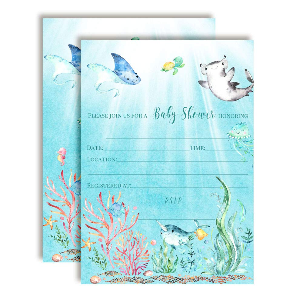 """Underwater Cute Sea Life-Themed Baby Sprinkle Shower Invitations, 20 5""""x7"""" Fill in Cards with Twenty White Envelopes by AmandaCreation"""