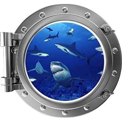 "24"" Porthole 3D Window Wall Sticker Shark Frenzy Silver Port Scape Decal Under The Sea Ocean Sea Life Sharks Peel and Stick Kids Bedroom Decor Wall Art Removable Fabric Vinyl: Home & Kitchen"