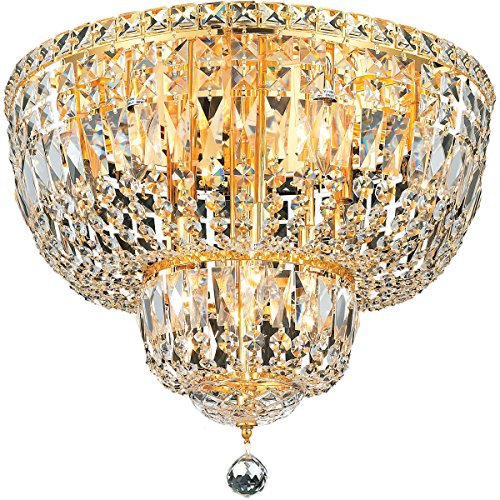 Elegant Lighting 2528F20G/SA Tranquil Collection 10-Light Flush Mount Swarovski Spectra Crystals with Gold Finish