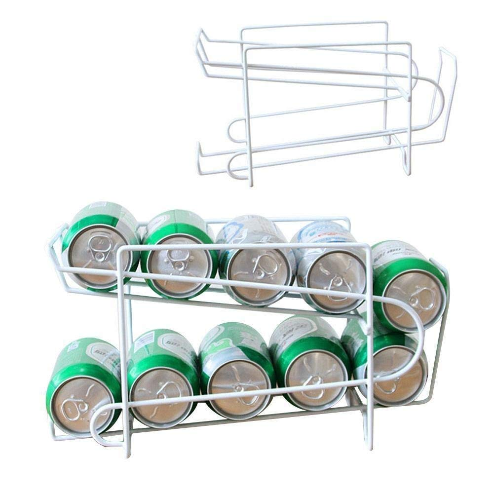 Two Tier Standing Pop, 2-Pack Soda and Food Can Dispenser Storage Rack Organizer with Shelf for Kitchen Pantry, Countertops and Cabinets Fridge, Cabinet(20.51318cm,white) by GEZICHTA