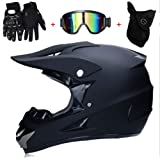 OUTLL Volles Gesicht MTB Motocross Helm Matt-schwarz Sch/ädel Offroad Enduro Motorrad Bergab ATV MX Quad Motorrad Schutzhelm Absturz Helm DOT Zertifizierung mit Brille Handschuhe Maske