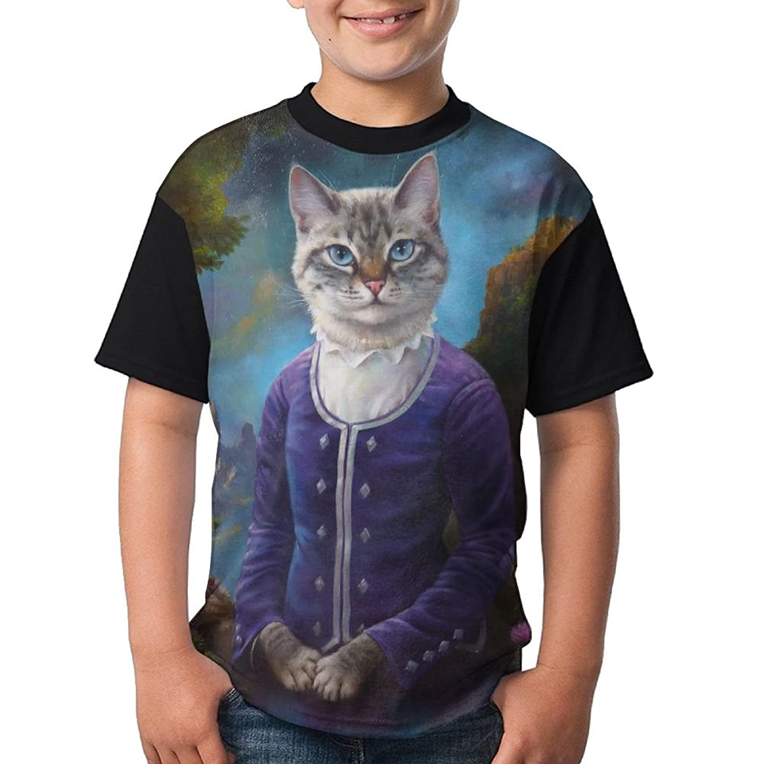 Zapage Youth Boys Lady Cat Short Sleeve T Shirt Fashion Design 3d