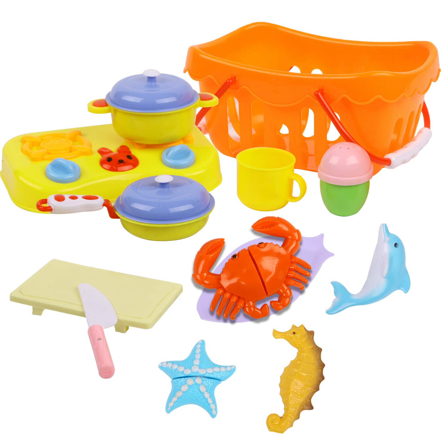 ToyerBee Kids Play Food & Pretend Play Cutting Kitchen Toys-Outdoor Sand Toys with Basket-Educational Preschool Toy Assortment-seaCreatureToys-Birthday Gift for Girls and Boys