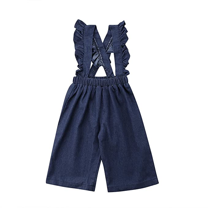 b668bb9ade5a Wiwiane Kids Toddler Baby Girl Ruffle Dots Denim Jumpsuit Suspenders Overalls  Outfit (Denim