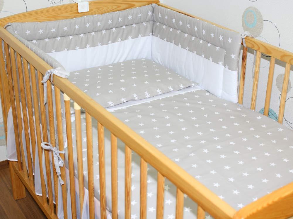 5-6 tlg Baby Bettset mit Chiffonhimmel Bettw/äsche Nestchen Sterne Drops D1 5 tlg