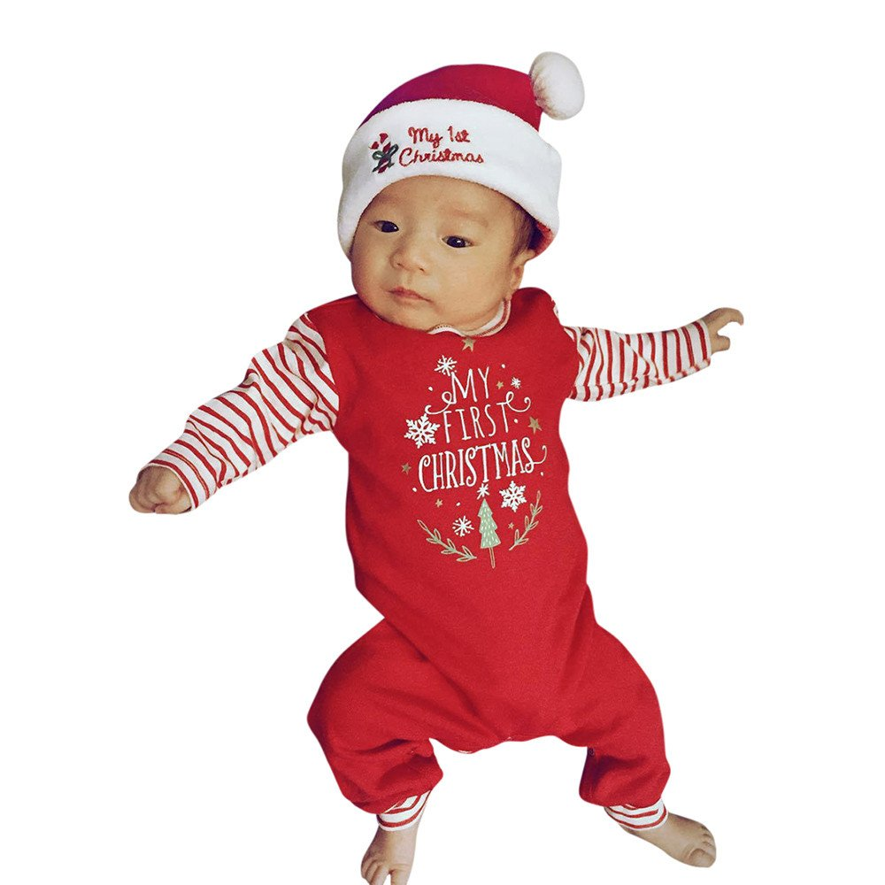 Zerototens Christmas Baby Romper, 0-18 Months Newborn Infant Kids Jumpsuit Toddler Boys Girls Red Long Sleeve Bodysuit for Kids- My First Christmas Outfits Clothes