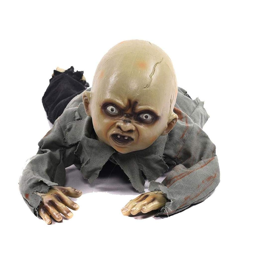 JRXyDfxn Halloween Ghost Ornament Creepy Baby Crawling Ghost LED Animated Baby Zombie Sound Doll Prop Party