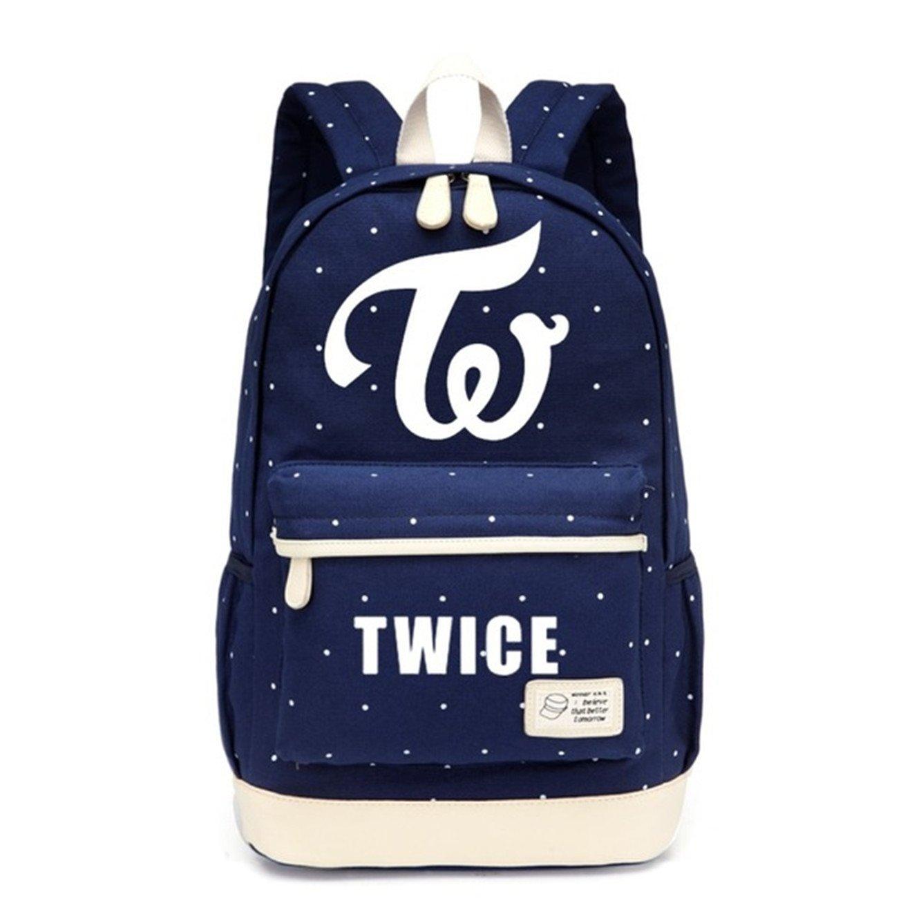 JUSTGOGO KPOP TWICE Backpack Daypack Laptop Bag College Bag Book Bag School Bag (Dark Blue1)