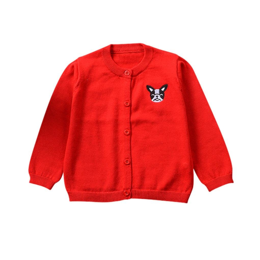 CHshe 6-36 Months Toddler Cotton Blend Cardigan, Baby Boys Girls Winter Cartoon Dog Printed Button Down Solid Color V-Neck Long-Sleeves Knitted Sweater Outwear