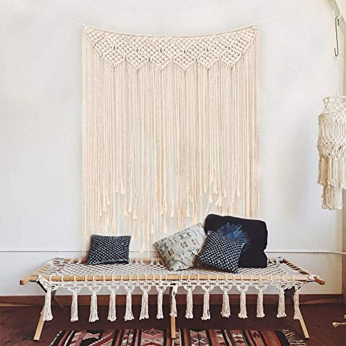 PATTNIUM Tassel Macrame Wall HangingCotton Handmade Woven Wall Tapestry Large Boho Wedding Backdrop Wall Decoration for Living Room 39 x 45 100 x 115cm