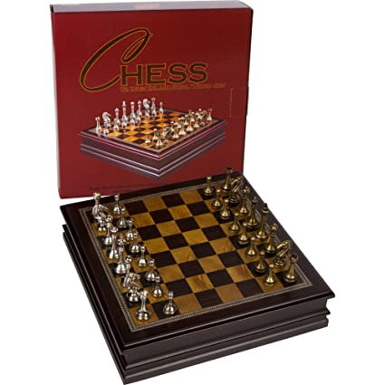 Grace Chess Inlaid Wood Board Game With Metal Pieces   12 Inch Set