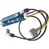【2個】PCI-E 1x - 16x エクステンダーライザーカードアダプタ (ビットコイン採掘)+電源ケーブル (4ピン-15ピン)+USB 3.0延長ケーブル